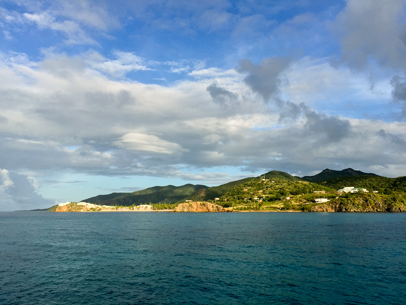 Looking west to the Curtain Bluff Resort and beach