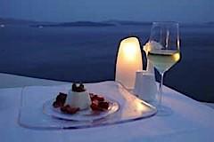 Santorini sunset wine dinner