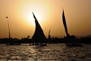 Feluccas on Nile at sunset
