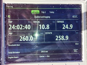 24.9 kts boat speed with 260 nm in 24 hours.