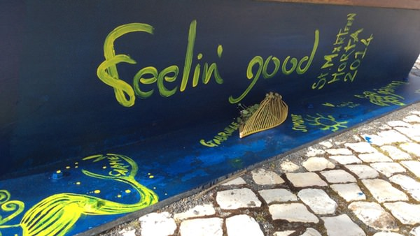 The crew painted FG on the sea wall in Horta!