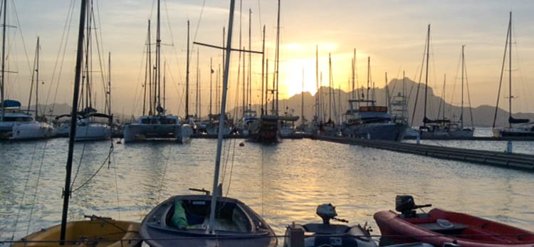 View from floating bar in Mindelo Marina