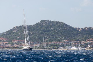 Even the big yachts are heeling over in this Mistral