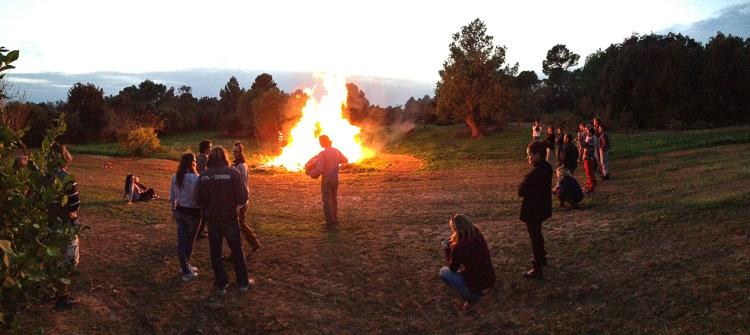Bonfire, singing and dancing