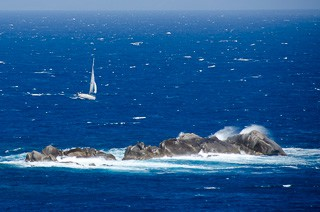 Reaching downwind in a strong Maestale in the Strait of Bonaficio