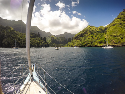 Arriving at our anchorage in Fatu Hiva