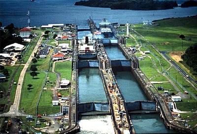 The Gatun Locks in Colon, Panama