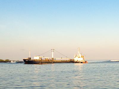 Grounded vessel in San Cristobal harbor