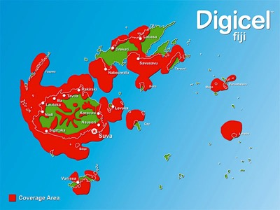 Digicel coverage map for Fiji