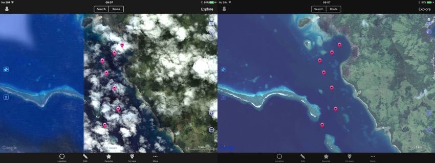 Same area of Fiji, Google image on the left, Bing image on the right