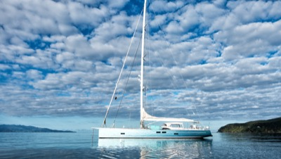 Feelin' Good at anchor off a Pacific island