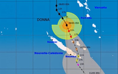 Track of Cyclone Donna